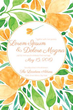 Uitnodiging bruiloft kaart met waterverf bloemen vector template - voor uitnodigingen, flyers, postkaarten, kaarten en ga zo maar door Stock Illustratie