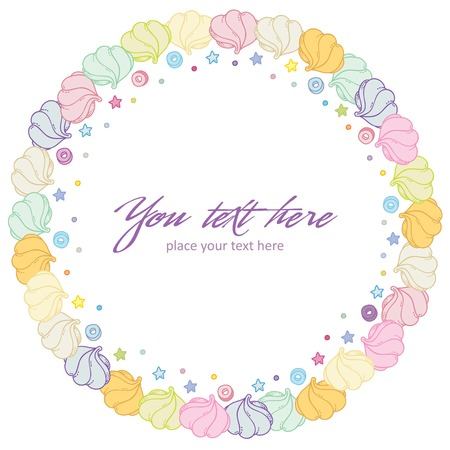 Round Frame colorful Marshmallow - vector illustration for invitation cards, flyers, celebration cards and so on. Illustration