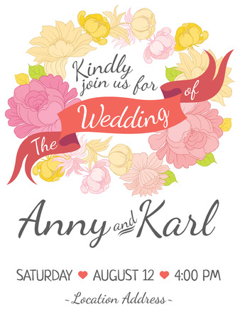 flyer background: Wedding card with ribbon and vector flower design in  style folk handicraft