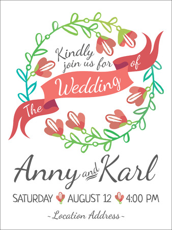 decorative background: Wedding card with ribbon and vector flower design