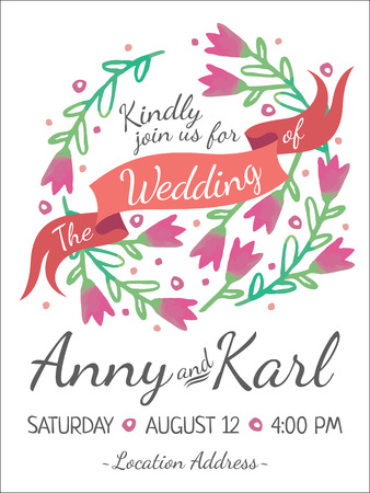 circles background: Wedding card with ribbon and vector flower design