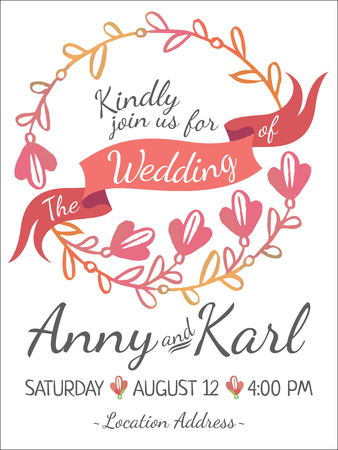 Wedding card with ribbon and vector flower design