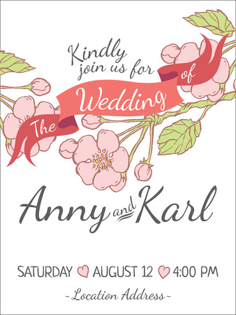 pring: Wedding card with ribbon and vector flower design