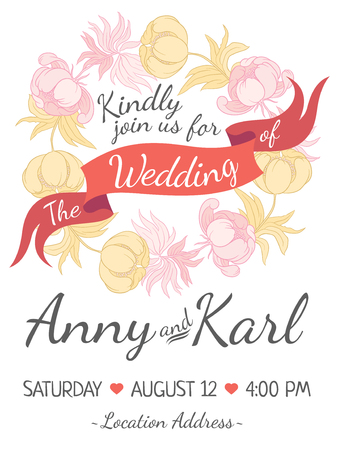 decorative background: Wedding card with ribbon and vector flower design in  style folk handicraft