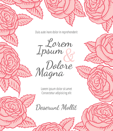 rose background: Wedding card with drawing roses in a classic retro style - vector flower design template
