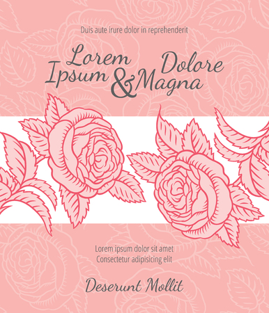 banner background: Wedding card with drawing roses in a classic retro style - vector flower design template