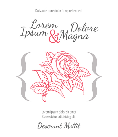 soiree: Wedding card with drawing roses in a classic retro style - vector flower design template