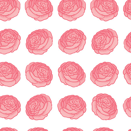 paperhanging: Seamless vector pattern - drawing of classic retro roses