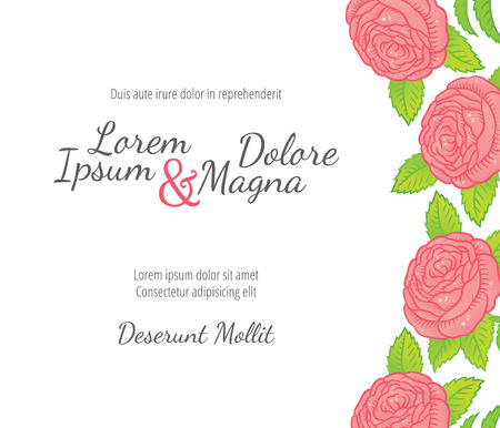 garden background: Wedding card with drawing roses in a classic retro style - vector flower design template