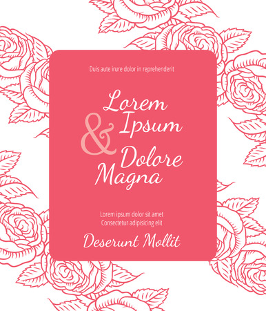 wedding reception decoration: Wedding card with drawing roses in a classic retro style - vector flower design template