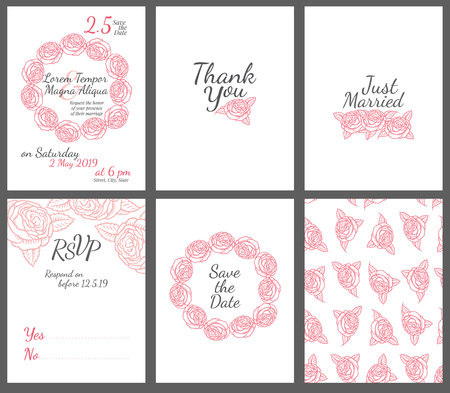 background pattern: Wedding card with drawing roses in a classic retro style - vector flower design template