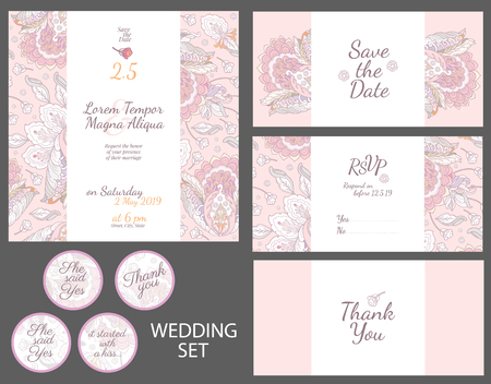 Invitation wedding card with watercolor flowers vector template - for invitations, flyers, postcards, cards and so on Illustration