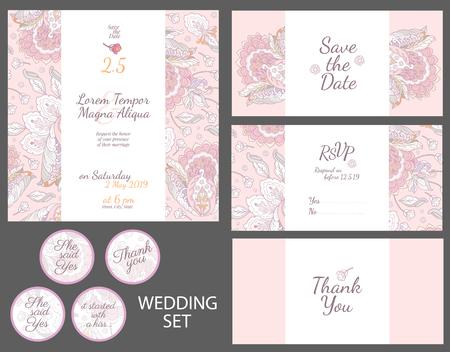 tarjeta de invitación de la boda con el modelo de flores de la acuarela del vector - para las invitaciones, folletos, tarjetas postales, tarjetas, etc.
