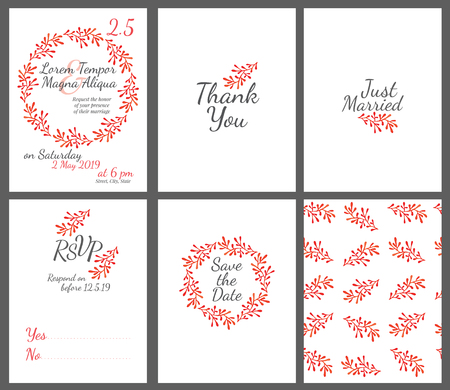 bachelorette: Invitation wedding card set with watercolor flowers vector template - for invitations, flyers, postcards, cards and so on
