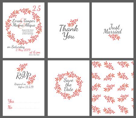 despedida de soltera: tarjeta de boda invitación fijada con la plantilla vector de flores de la acuarela - para las invitaciones, folletos, tarjetas postales, tarjetas, etc. Vectores