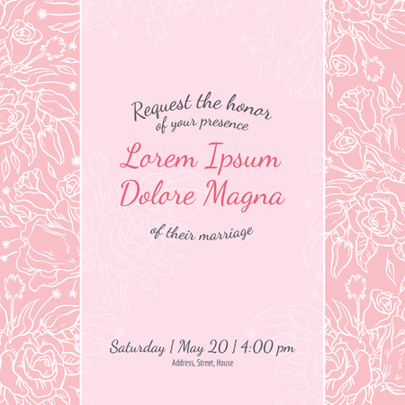Invitation nuptiale carte de douche avec modèle fleurs en dentelle de vecteur - pour invitations, flyers, cartes postales, cartes, etc.