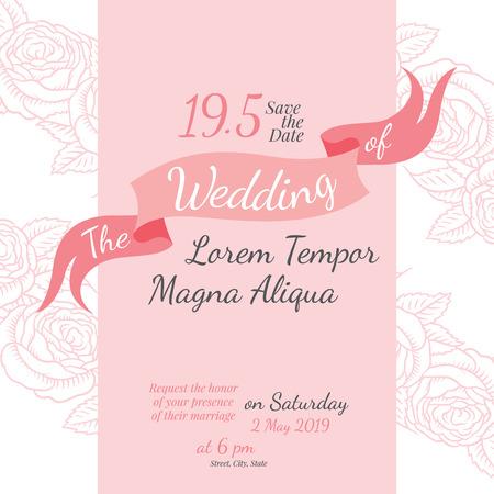 Einladung Brautduschen-Karte mit Vektor-Vorlage stieg Blume - für Einladungen, Flyer, Postkarten, Karten und so weiter