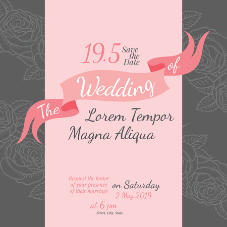 background design: Invitation bridal shower card with rose flower vector template - for invitations, flyers, postcards, cards and so on Illustration