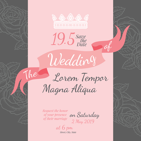 happy people white background: Invitation bridal shower card with rose flower vector template - for invitations, flyers, postcards, cards and so on Illustration