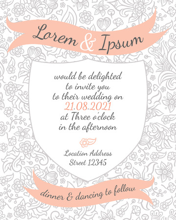 banner background: wedding card with gentle flower lace design - postcard with the invitation