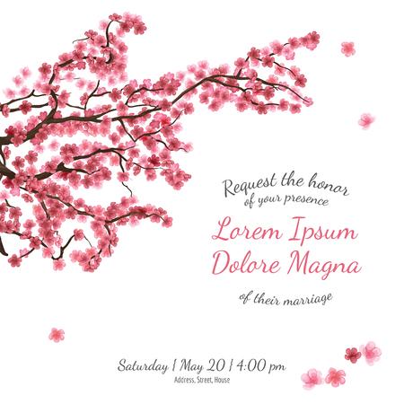 Uitnodiging vrijgezellenfeest kaart met sakura vector template - voor uitnodigingen, flyers, postkaarten, kaarten en ga zo maar door