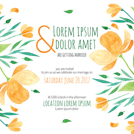 fun background: Invitation bridal shower card with orange flower vector template - for invitations, flyers, postcards, cards and so on