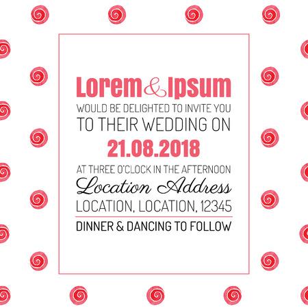 Wedding invitation red rose background