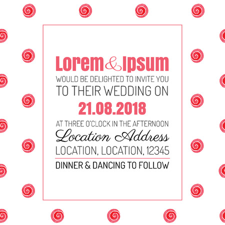 circlet: Wedding invitation red rose background