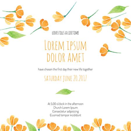 Uitnodiging bruids douche kaart met oranje bloem vector sjabloon - voor uitnodigingen, flyers, postkaarten, kaarten en ga zo maar door