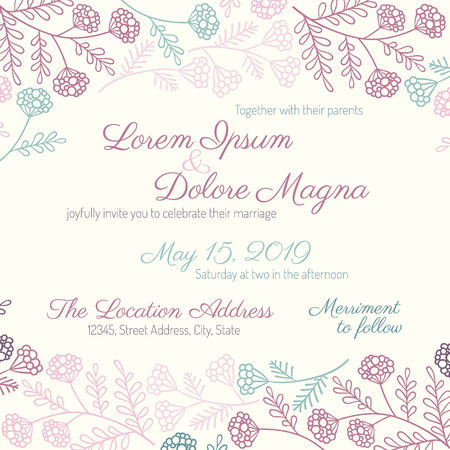 wedding card with gentle summer design - postcard with the invitation Illustration