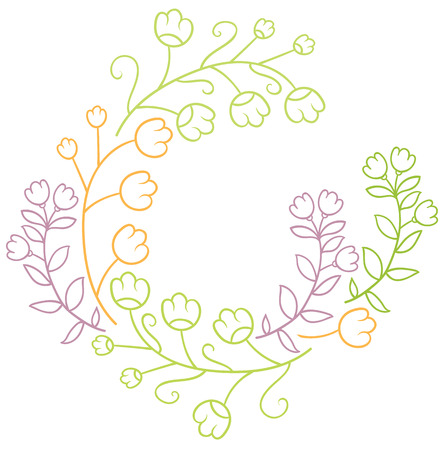 naive: cute flowers - hand drawing the naive style frame or border Illustration