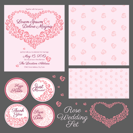 pring: set of gentle wedding cards with rose heart - postcard with the invitation, confirmation, save the date and seamless pattern