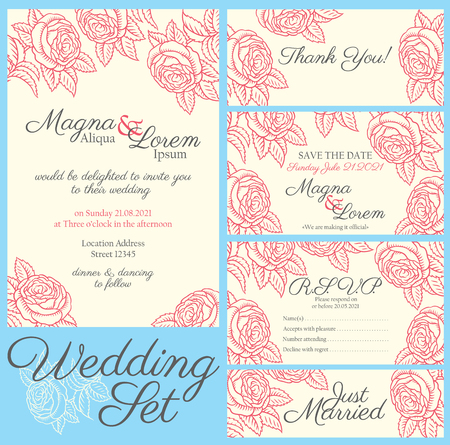 invitation background: Wedding card with drawing roses in a classic retro style - vector flower design template