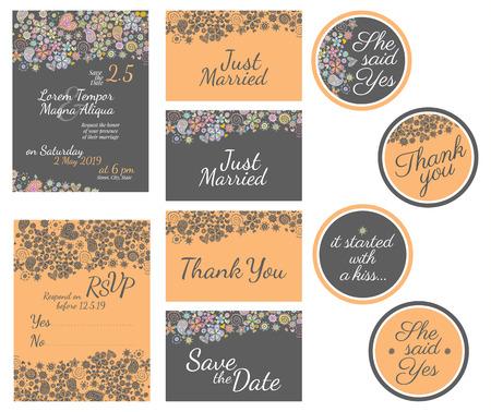 despedida de soltera: tarjeta de invitación de la boda con el modelo de flores de la acuarela del vector - para las invitaciones, folletos, tarjetas postales, tarjetas, etc. Vectores