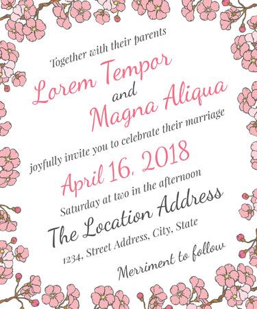 wedding card with gentle sakura flowers - postcard with the invitation Illustration