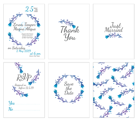 circles background: set of gentle wedding cards - postcard with the invitation, confirmation, save the date and seamless pattern