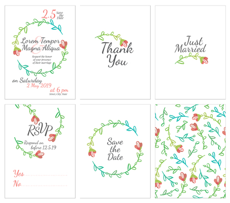 background patterns: set of gentle wedding cards - postcard with the invitation, confirmation, save the date and seamless pattern