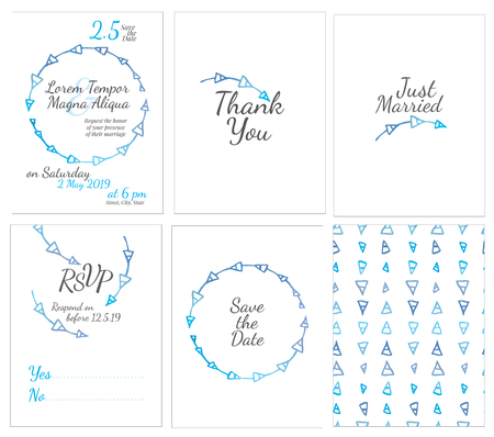 set of gentle wedding cards - postcard with the invitation, confirmation, save the date and seamless pattern