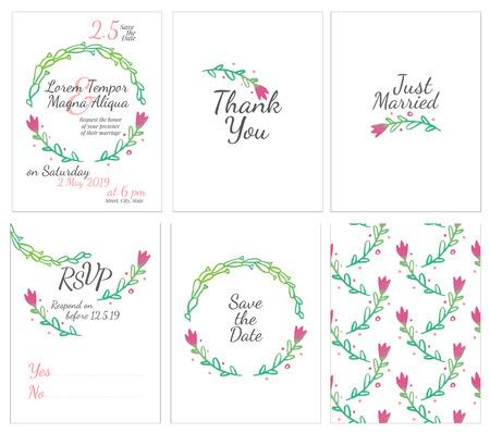 conjunto de tarjetas de boda suaves - tarjeta postal con la invitación, confirmación, ahorre la fecha y el patrón sin fisuras