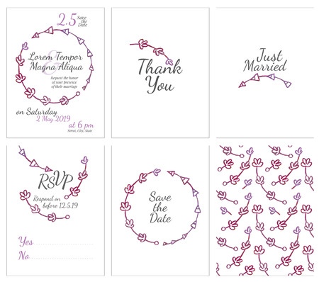 confirmation: set of gentle wedding cards - postcard with the invitation, confirmation, save the date and seamless pattern