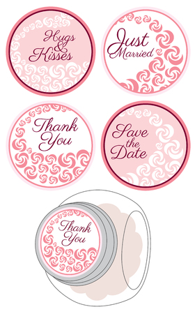 Personalized Candy Sticker Labels with rose set - perfect addition to wedding or party favors