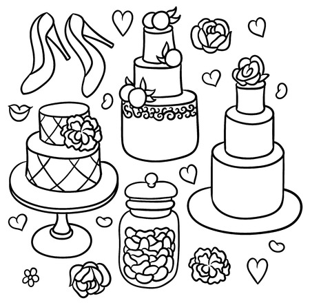 swank: flowers, shoes, cakes and hearts - sweet romantic wedding stuff Illustration
