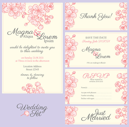 pring: wedding card with gentle sakura flowers - postcard with the invitation Illustration