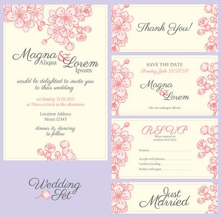 invitación de boda con las flores de sakura suaves - tarjeta postal con la invitación