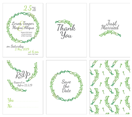 pring: set of gentle wedding cards - postcard with the invitation, confirmation, save the date and seamless pattern
