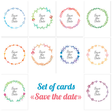 set of wedding card with round frame - save the date Illustration
