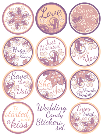 Personalized Candy Sticker Labels with decorative floers set - perfect addition to wedding or party favors