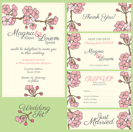 flyer background: wedding card with gentle sakura flowers - postcard with the invitation Illustration