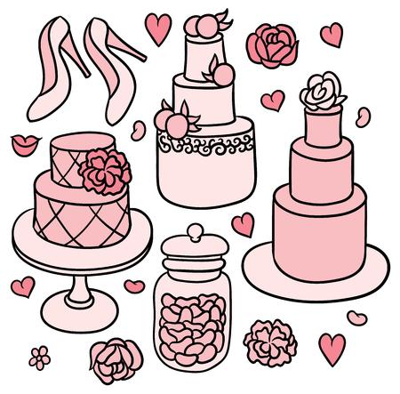 gateau: flowers, shoes, cakes and hearts - sweet romantic wedding stuff Illustration