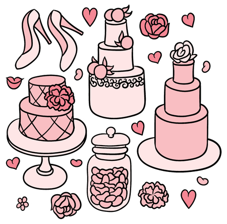 flowers, shoes, cakes and hearts - sweet romantic wedding stuff in cute doodle naive style